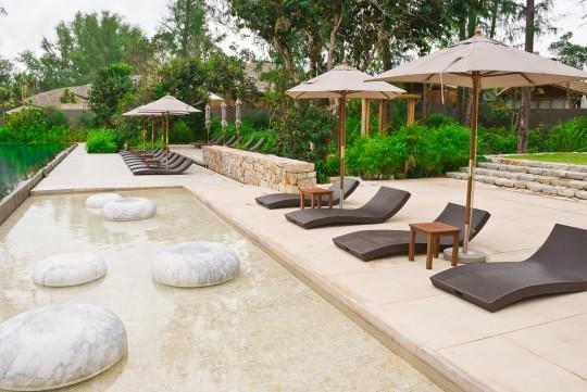 Peaceful garden with sand tikis