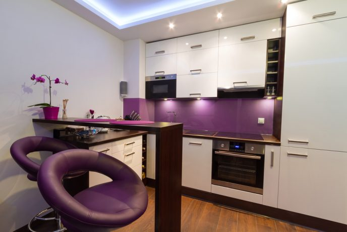 Small kitchen with purple accents