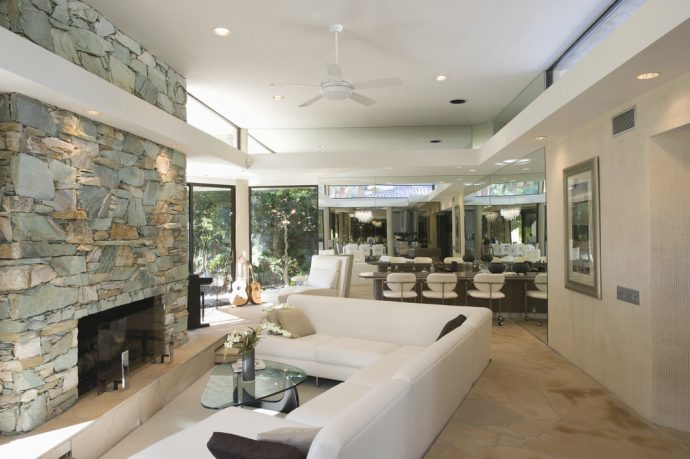 California dream living room with fireplace