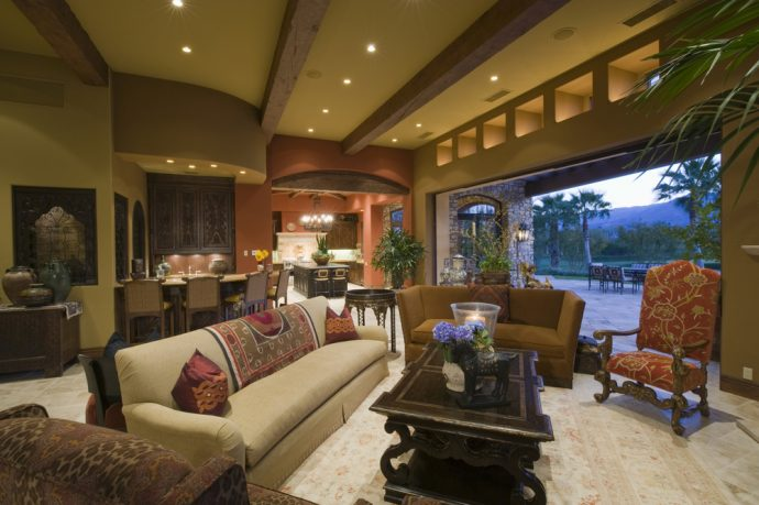 California living room with view