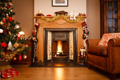 Christmas fireplace with tree