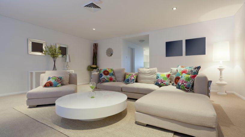 Trendy white large sofa