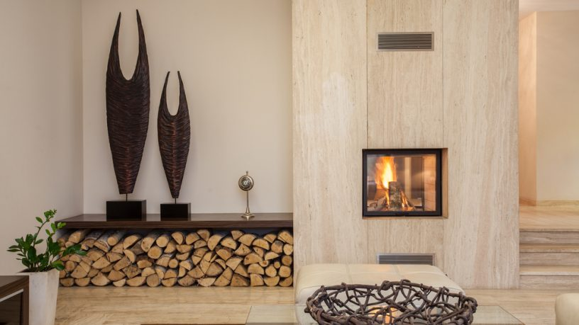 Wood fireplace and wood holder