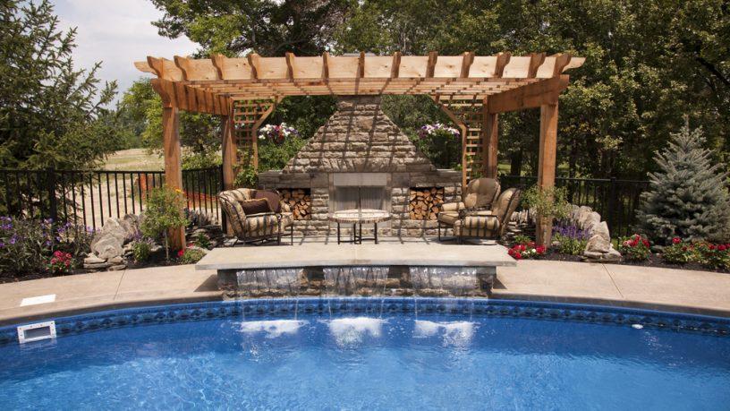 Amazing backyard pool with waterfall