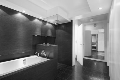 Modern black and white bathroom concept