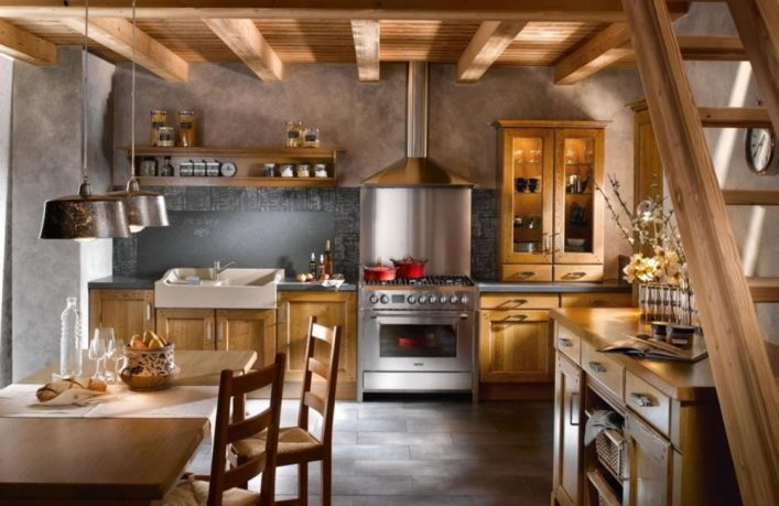 Old rustic country wood kitchen