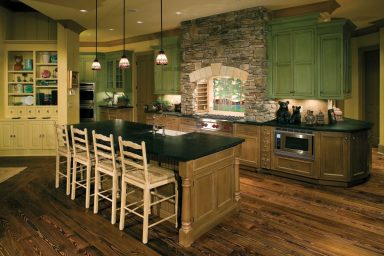 Open rustic kitchen with island