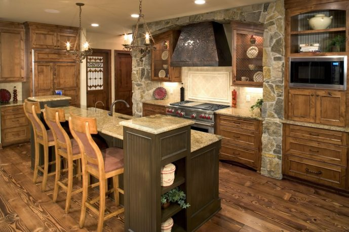 Rustic kitchen with bar island