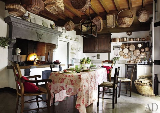 Rustic kitchen with fireplace