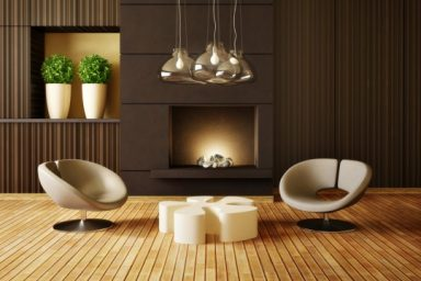 Modern fireplace with cool chairs